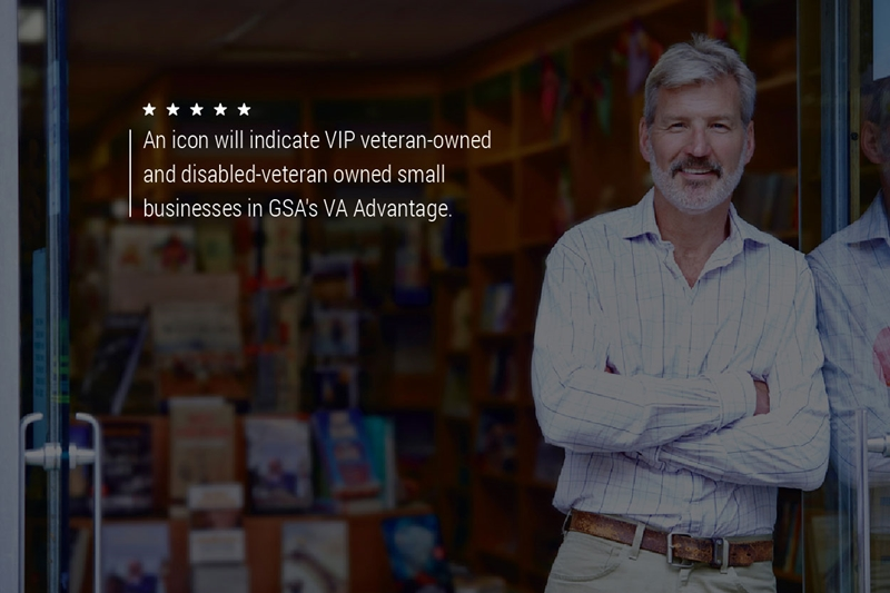 """A older gentleman standing in a store. Text on the graphic reads, """"An icon will indicate VIP veteran-owned and disabled-veteran owned small businesses in GSA's VA Advantage."""""""