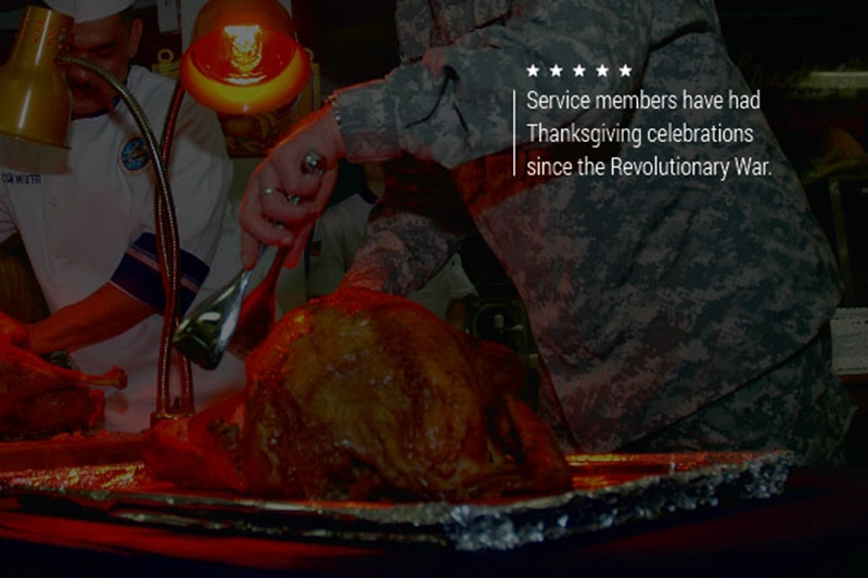 A pair of servicemembers carving a roast turkey.